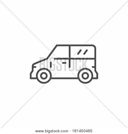 Mini van line icon isolated on white. Vector illustration