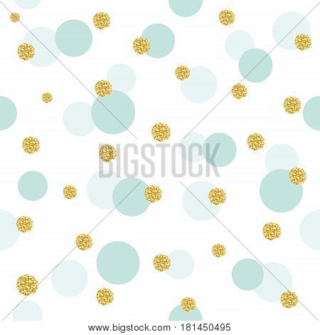 Glitter confetti polka dot seamless pattern background. Golden and pastel blue trendy colors. For birthday and scrapbook design. Vector EPS10.