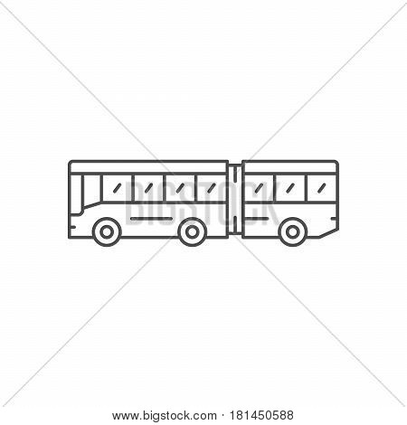Articulated bus line icon isolated on white. Vector illustration
