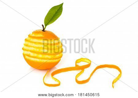 Orange with a leaf peeled peel on a white background original concept