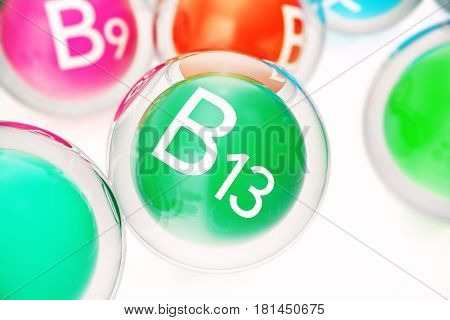Vitamin B13, group of organic substances, food additive, isolated, on white background. 3d rendering