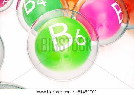 Vitamin B6, group of organic substances, food additive, isolated, on white background. 3d rendering