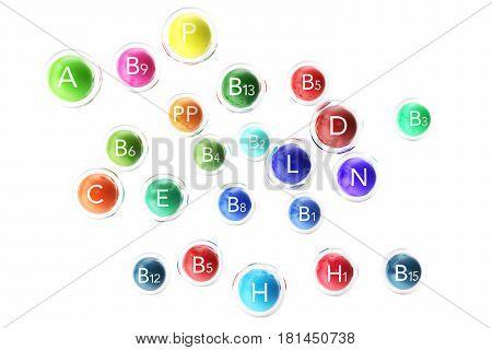 Essential Chemical Elements Nutrient Minerals Vitamins, 3d rendering
