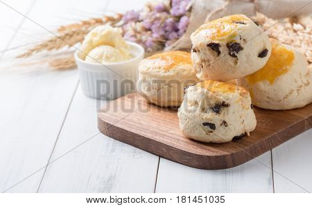 Scones On Wood Block With Barley,