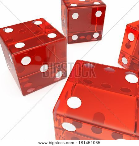 Transparent red cubes on a white background, concept of gambling for example: casino, roulette. 3d rendering