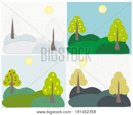 Four seasons - winter spring summer autumn. Vector illustration. Landscape trees Apple and pear in all seasons