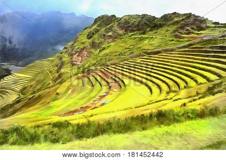 Colorful painting of hill with terraces, Sacred valley, Cuzco, Peru
