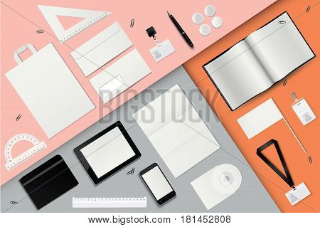 Corporate identity template set. Business stationery mock-up. Envelope, pen, gadgets, badge, notebook, set of rulers, package, paperclips, flag, lanyard.
