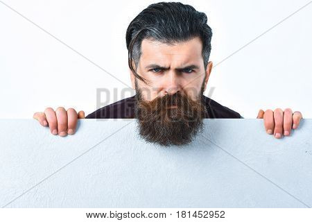Bearded Brutal Caucasian Hipster With Paper Sheet