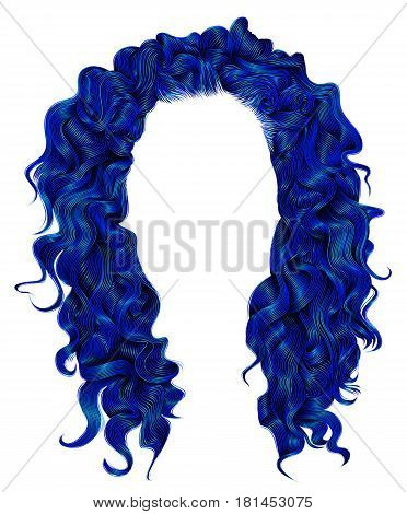 long curly hairs dark blue colors . beauty fashion style . wig .