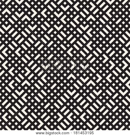 Vector seamless pattern. Mesh repeating texture. Linear grid with chaotic shapes. Stylish geometric lattice modern design