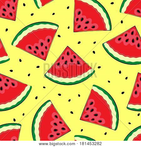 Seamless background with watermelon. Pieces of watermelon on a yellow background. Summer time. A simple pattern. Vector illustration.