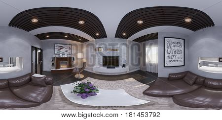 3d illustration of the interior design of the living room. The style of the apartment is modern in gray and white colors with bio fireplace. Render is executed, 360 degree spherical seamless panorama for virtual reality.
