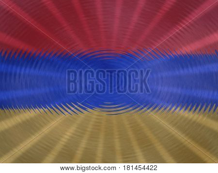 Armenian flag background with ripples and rays illustration