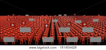 Crowd of people with signs and Swiss flags 3d illustration
