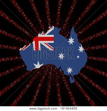 Australia map flag on red hex code burst 3d illustration