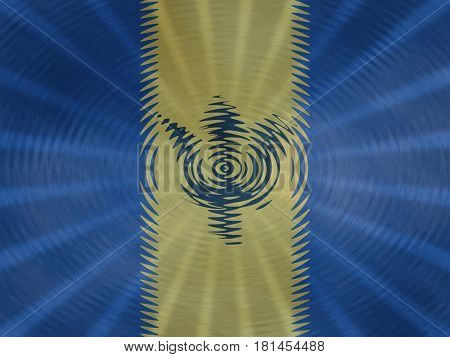 Barbados flag background with ripples and rays illustration