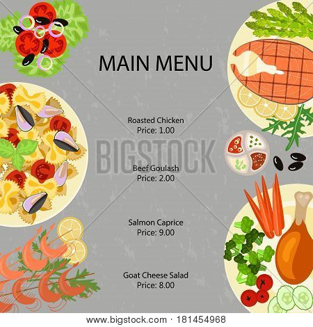Main restaurant menu template with different dishes and salates. Vector illustration eps 10