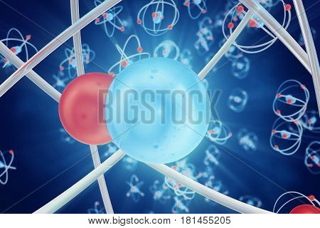Abstract atom background, digital illustration of atom. Glowing energy balls. Abstract atom close-up as a scientific background. 3d rendering