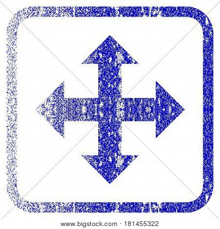 Expand Arrows textured icon for overlay watermark stamps. Blue vectorized texture. Flat vector symbol with dust design inside rounded square frame. Framed blue rubber seal stamp imitation.