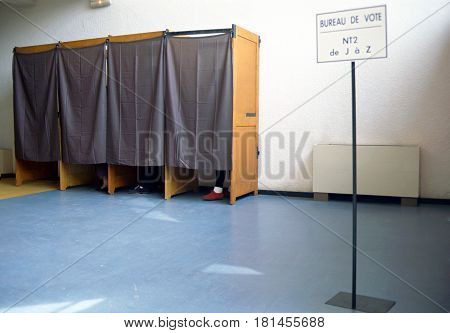 Polling stations and polling booths in france. Sign mention Vote station