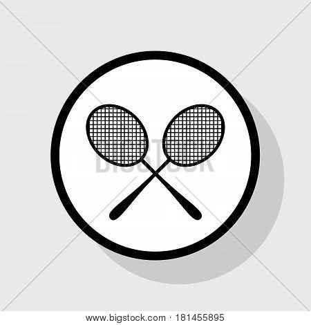 Tennis racquets sign. Vector. Flat black icon in white circle with shadow at gray background.