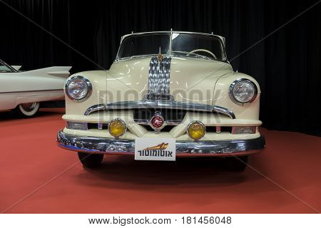 TEL-AVIV ISRAEL - APRIL 12 2017: Vintage cream Pontiac car displayed in Tel-Aviv. Israel