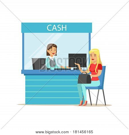Woman Withdrawing Cash At Bank Cashier. Bank Service, Account Management And Financial Affairs Themed Vector Illustration. Smiling Cartoon Characters In Bank Office Interior Vector Illustration.