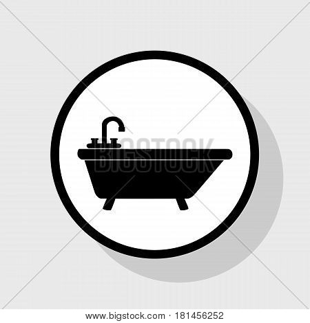 Bathtub sign illustration. Vector. Flat black icon in white circle with shadow at gray background.