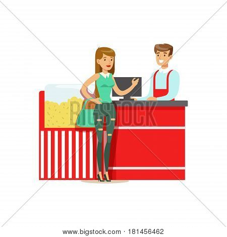 Woman Buying Popcorn From Cinema Seller, Part Of Happy People In Movie Theatre Series. Vector Illustration With Cartoon Characters Indoors At The Movies