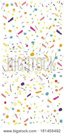 Colorful confetti vector background Vertical rectangular. Pattern with small particles grains like chocolate chips pastry Bright backdrop on white