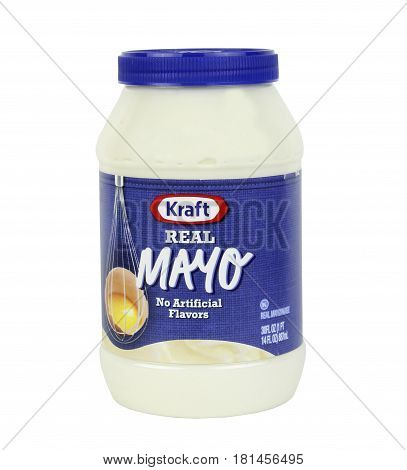 Spencer Wisconsin April 13 2017 Jar of Kraft Real Mayo Kraft is an American brand of food products produced in the U.S.A.