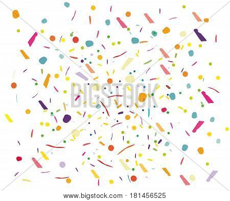Colorful confetti vector background Vertical square. Pattern with small particles grains like chocolate chips pastry Bright backdrop on white