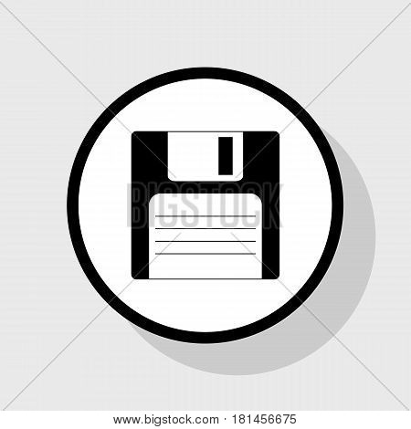 Floppy disk sign. Vector. Flat black icon in white circle with shadow at gray background.
