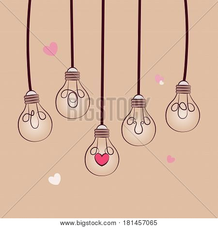 Lightbulb of love concept vector. Illustration bulbs symbol of love. Picture in retro style. Vector illustration. background Valentine's Day.