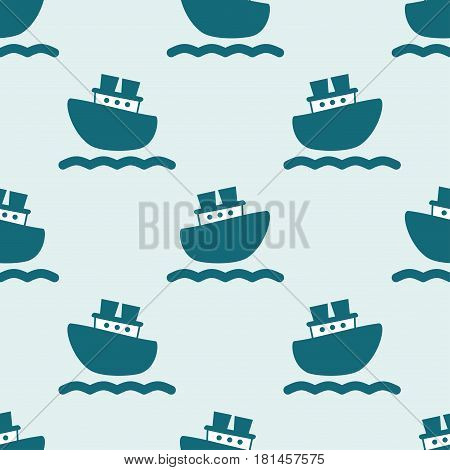 Cute seamless pattern with blue boats and waves on the light background. Vector illustration for birthday anniversary party invitations scrapbooking prints fabric cards. Marine theme