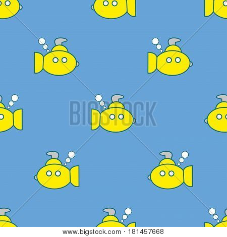 Yellow submarines seamless pattern on the blue background. Children's style. Vector illustration for birthday anniversary party invitations scrapbooking prints fabric cards. Marine theme