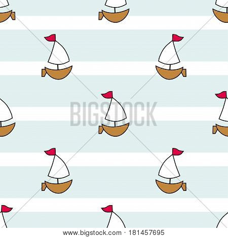 Cute nautical sailboats on a background of stripes and lines. Seamless vector illustration. Drawing for birthday anniversary party invitations scrapbooking prints fabric cards. Marine theme