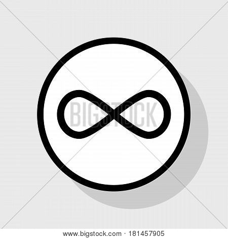 Limitless symbol illustration. Vector. Flat black icon in white circle with shadow at gray background.