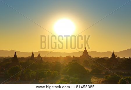 Landscape with Temples silhouette in Bagan at sunset, Myanmar (Burma)