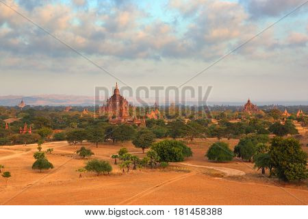Landscape with Temples in Bagan at sunrise, Myanmar (Burma)