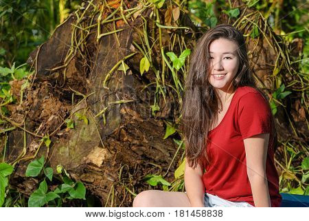 Happy Woman With A Cute Smile On The Nature