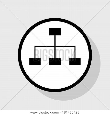 Site map sign. Vector. Flat black icon in white circle with shadow at gray background.