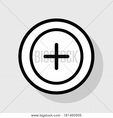 Positive symbol plus sign. Vector. Flat black icon in white circle with shadow at gray background.