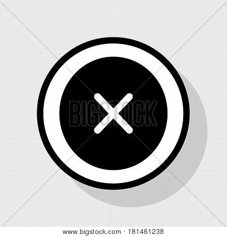 Cross sign illustration. Vector. Flat black icon in white circle with shadow at gray background.