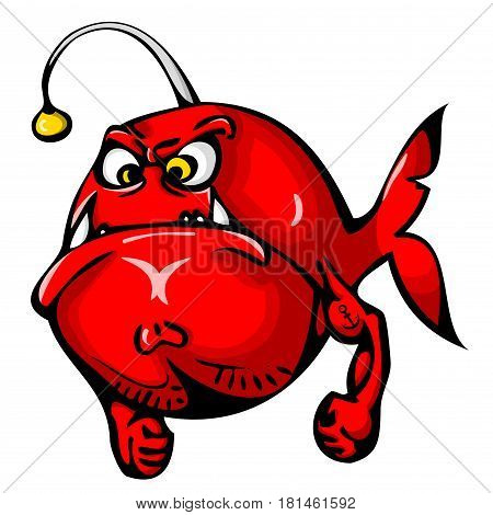 Red angry fish with tattoo on hand isolated on white background. Funny cartoon image in simple gradients for printed materials and backgrounds.