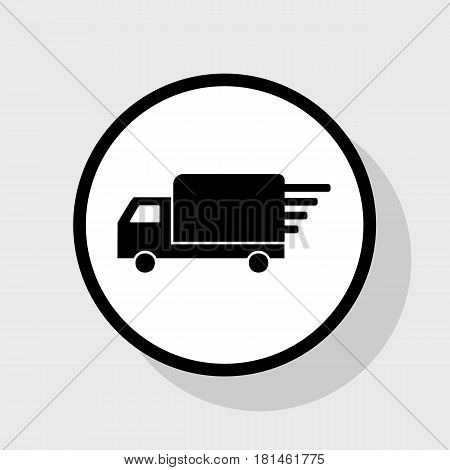 Delivery sign illustration. Vector. Flat black icon in white circle with shadow at gray background.