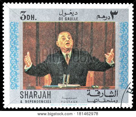 SHARJAH - CIRCA 1970 : Cancelled postage stamp printed by Sharjah, that shows General de Gaulle.