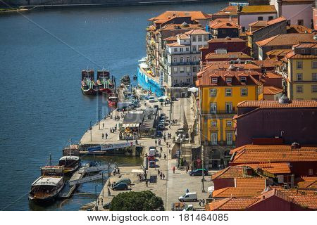 PORTO, PORTUGAL - MAR 10, 2017: View of Douro river from Dom Luis I bridge. City of Porto was elected from 20 selected Best European Destination 2017 and won this prestigious title.