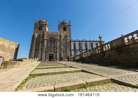 PORTO, PORTUGAL - MAR 10, 2017: View of Porto Cathedral (Se do Porto). City of Porto was elected from 20 selected Best European Destination 2017 and won this prestigious title.